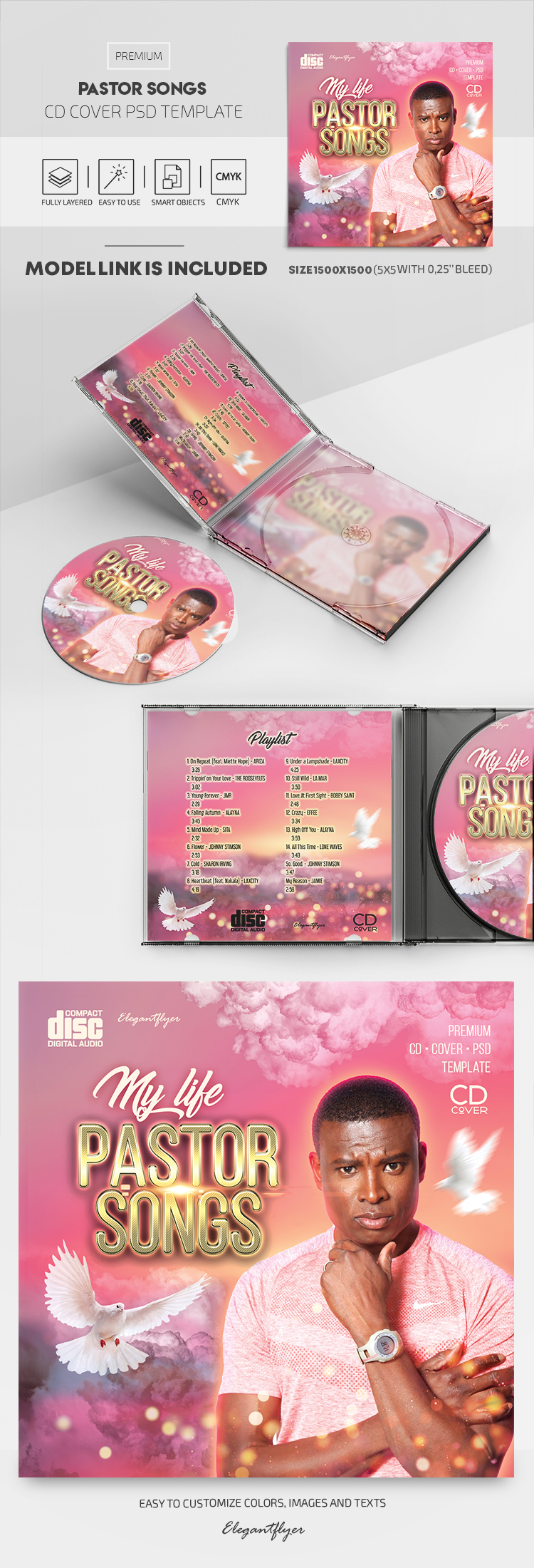 Pastor Songs – Premium CD Cover PSD Template