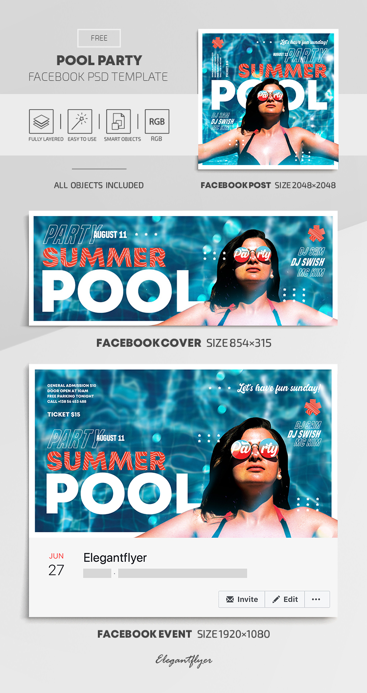 Pool Party – Free Facebook Cover Template in PSD + Post + Event cover
