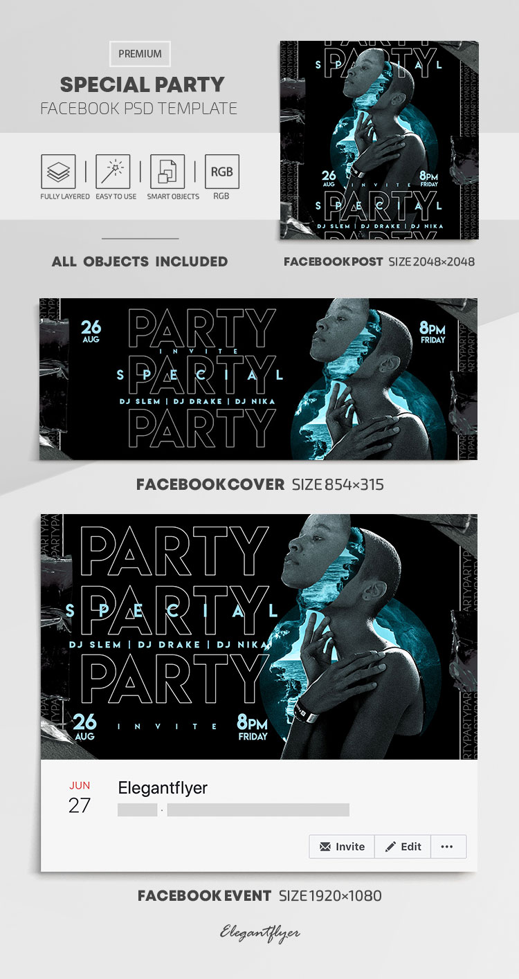Special Party – Facebook Cover Template in PSD + Post + Event cover