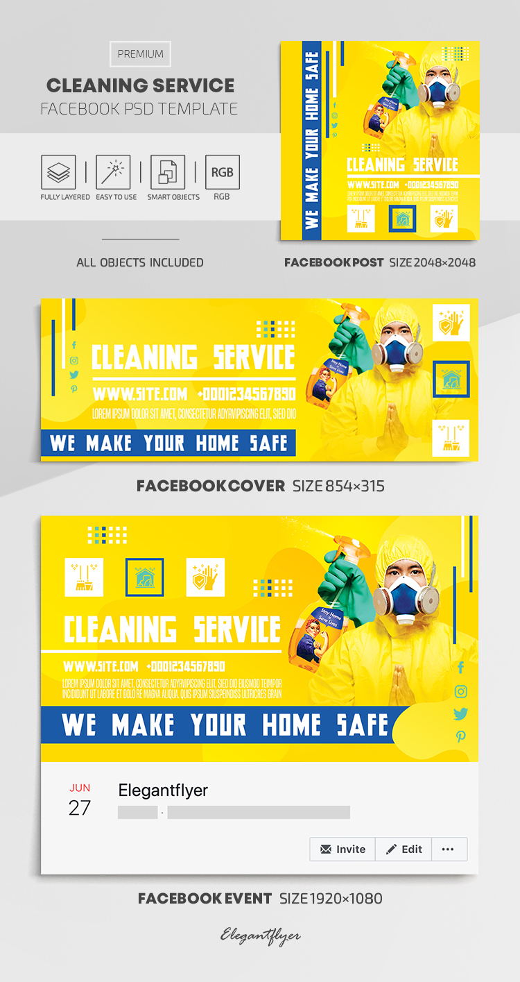 Cleaning Service – Facebook Cover Template in PSD + Post + Event cover