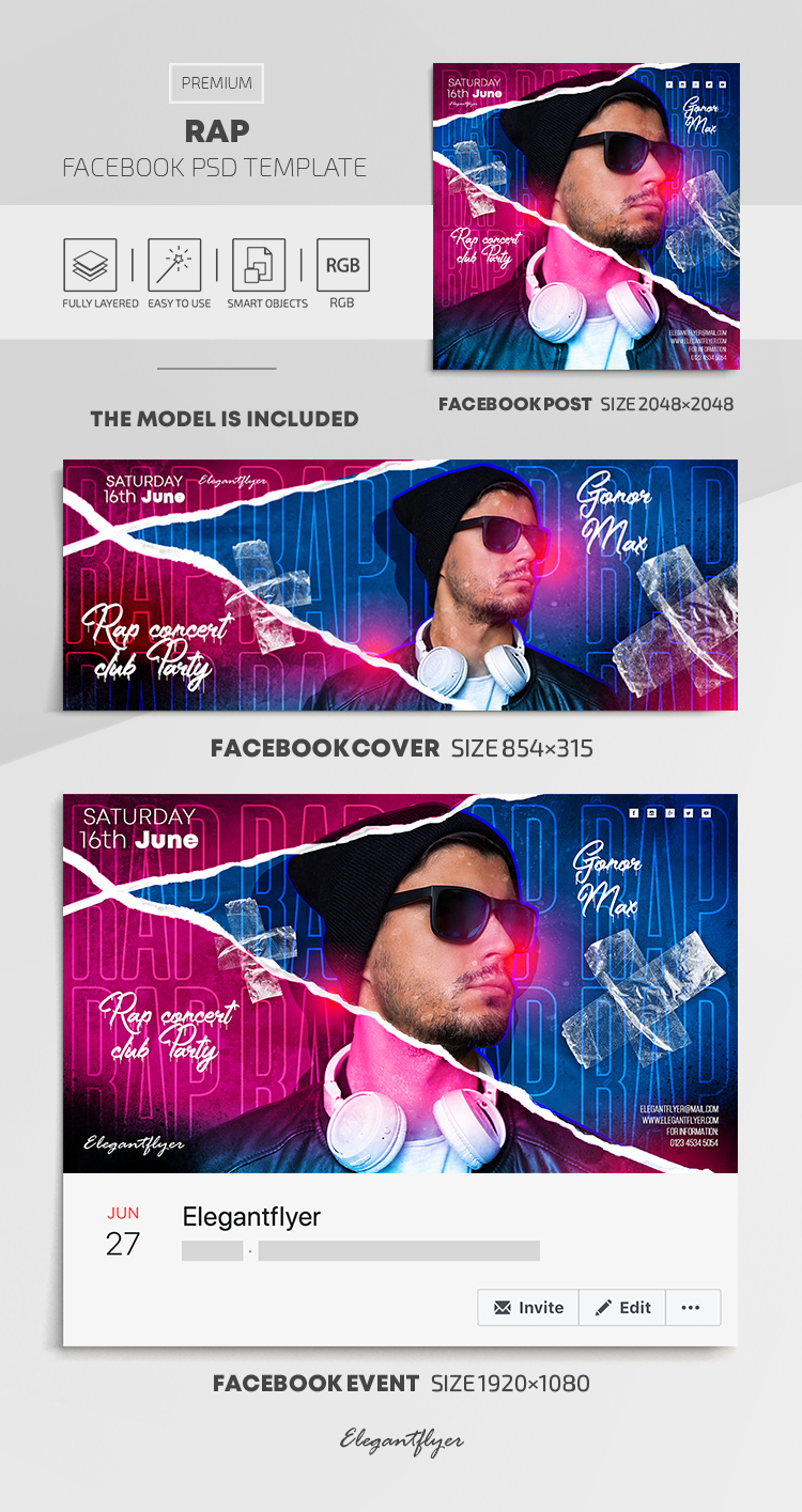 Rap – Facebook Cover Template in PSD + Post + Event cover