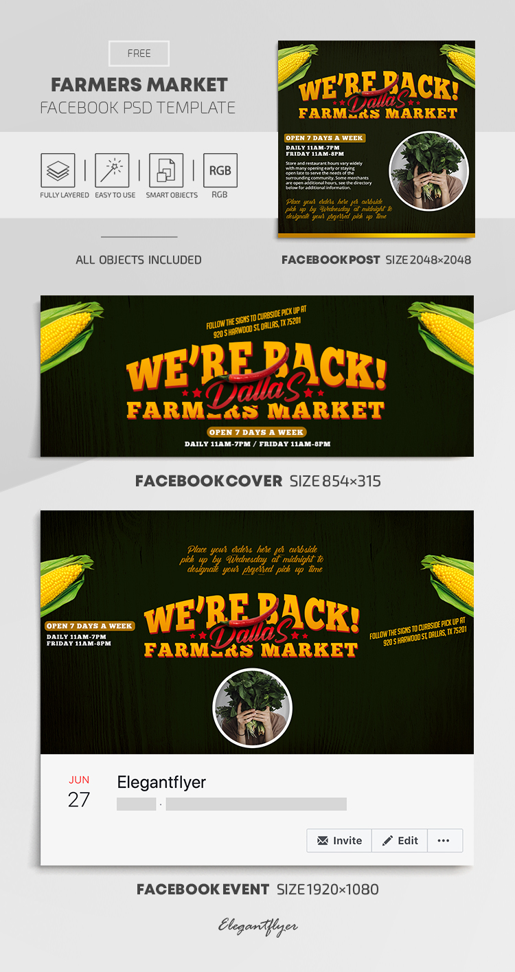 Farmers Market – Free Facebook Cover Template in PSD + Post + Event cover