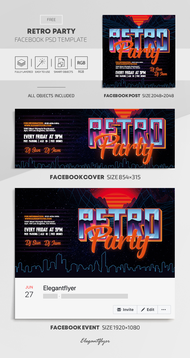 Retro Party – Free Facebook Cover Template in PSD + Post + Event cover