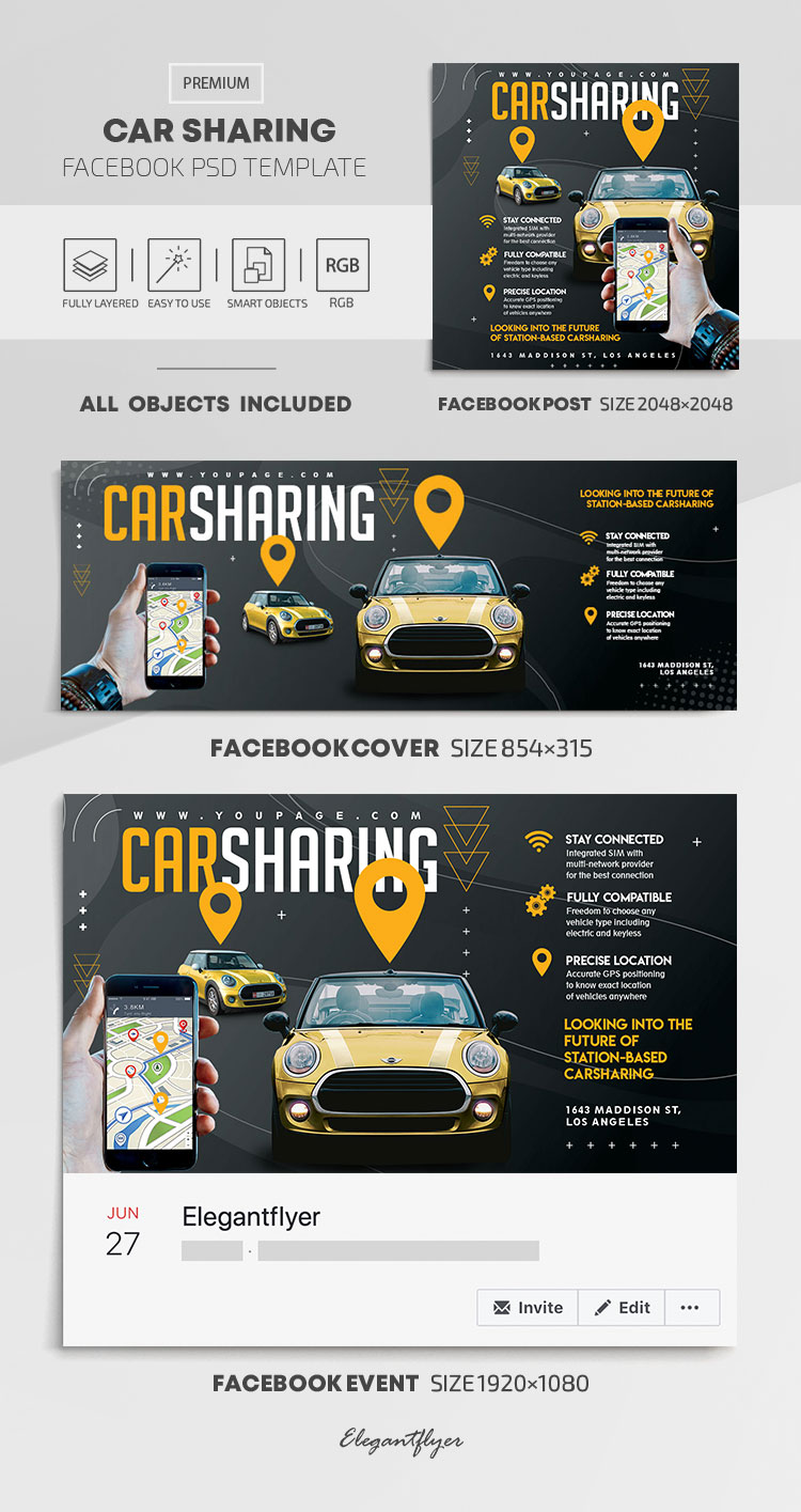 Car Sharing – Facebook Cover Template in PSD + Post + Event cover