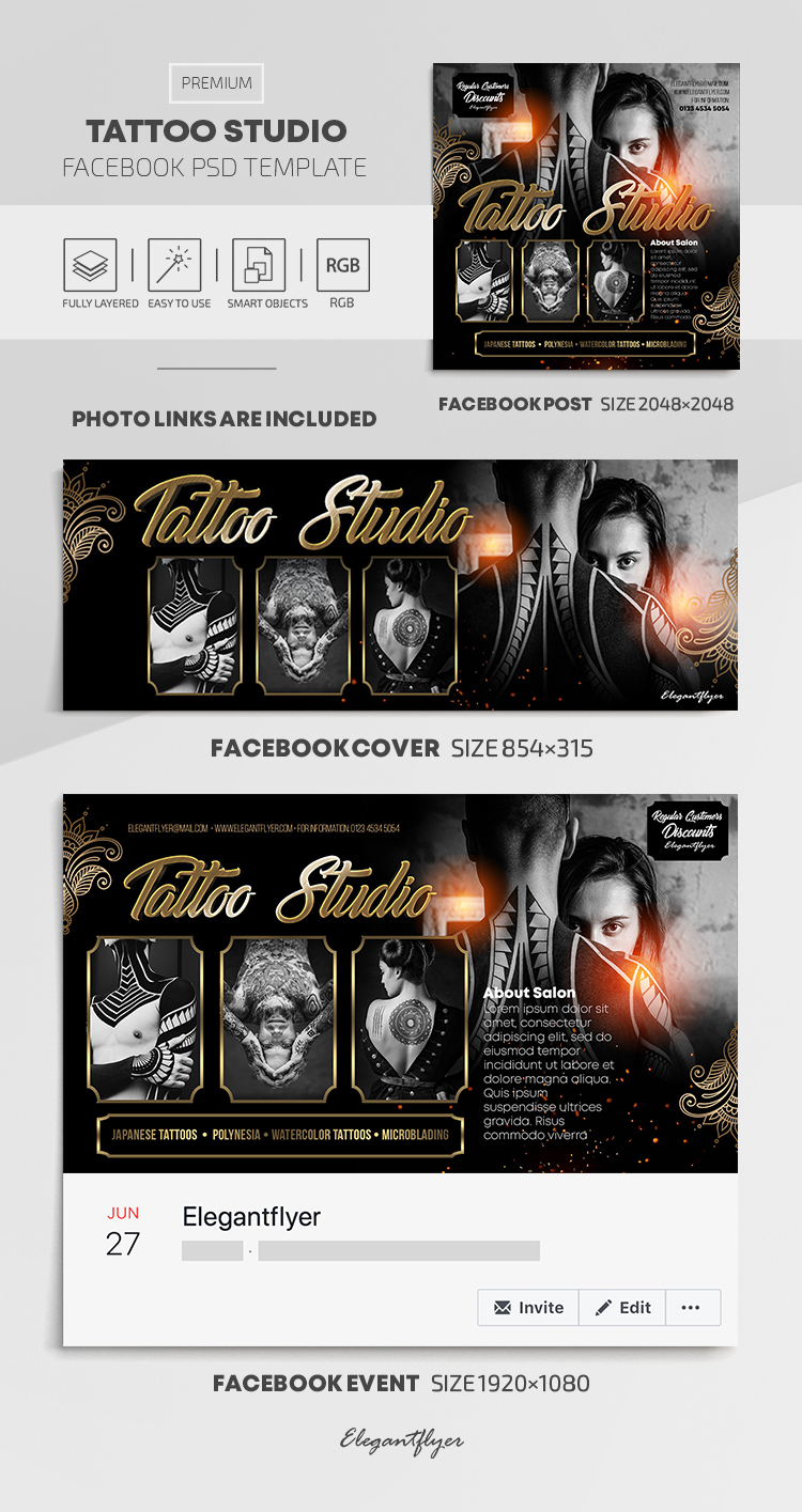 Tattoo Studio – Facebook Cover Template in PSD + Post + Event cover