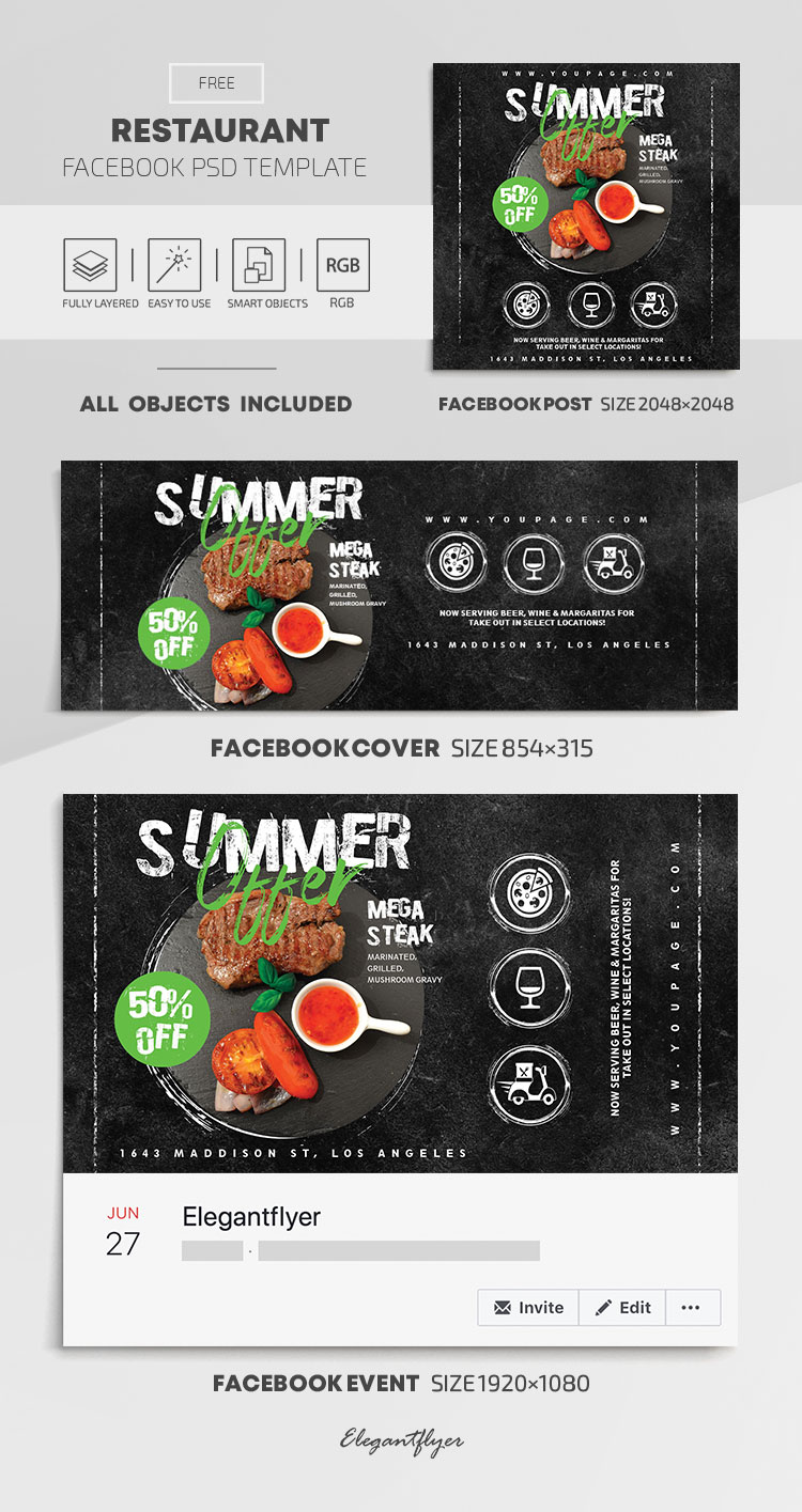 Restaurant – Free Facebook Cover Template in PSD + Post + Event cover