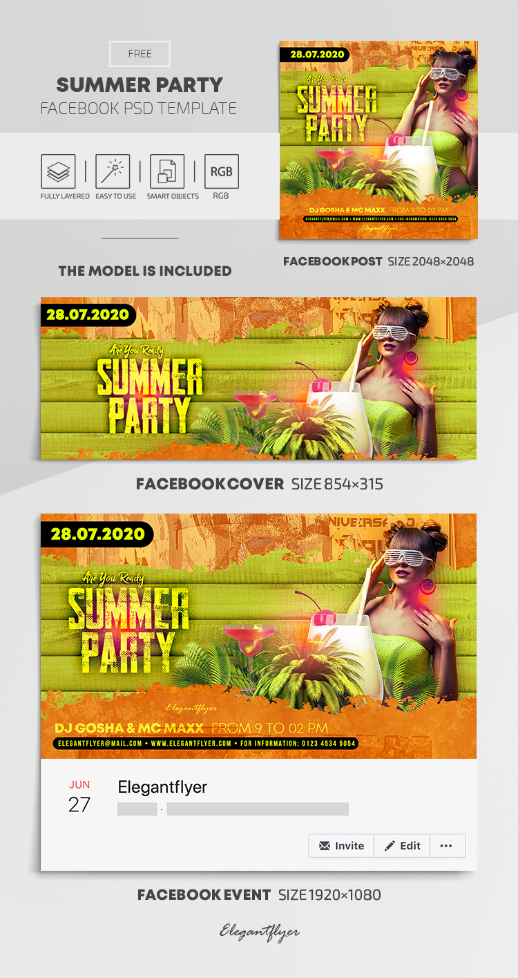 Summer Party – Free Facebook Cover Template in PSD + Post + Event cover