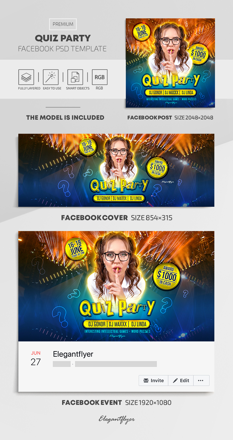 Quiz Party – Facebook Cover Template in PSD + Post + Event cover