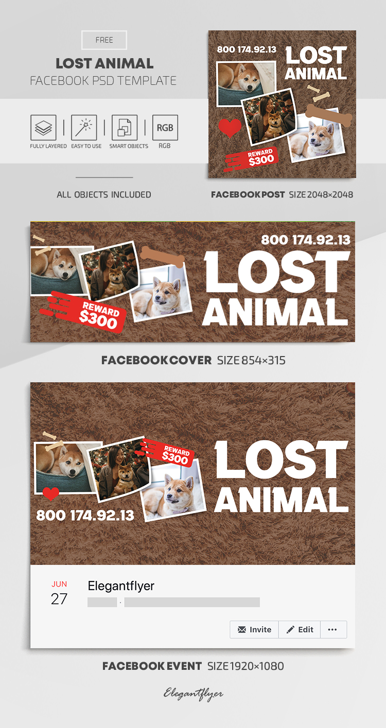 Lost Animal – Free Facebook Cover Template in PSD + Post + Event cover