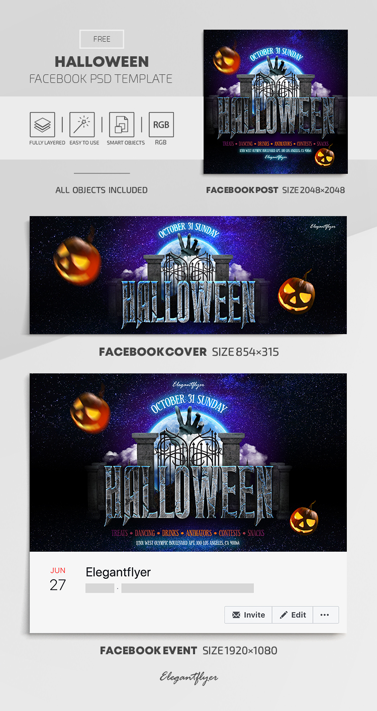 Halloween – Free Facebook Cover Template in PSD + Post + Event cover