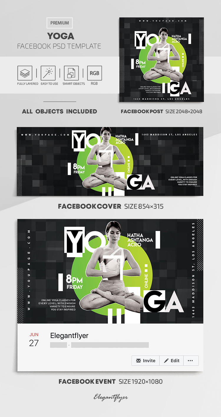 Yoga – Facebook Cover Template in PSD + Post + Event cover