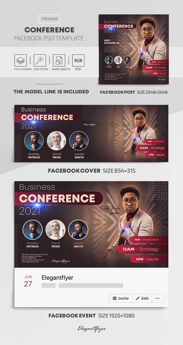 Conference – Facebook Cover Template in PSD + Post + Event cover
