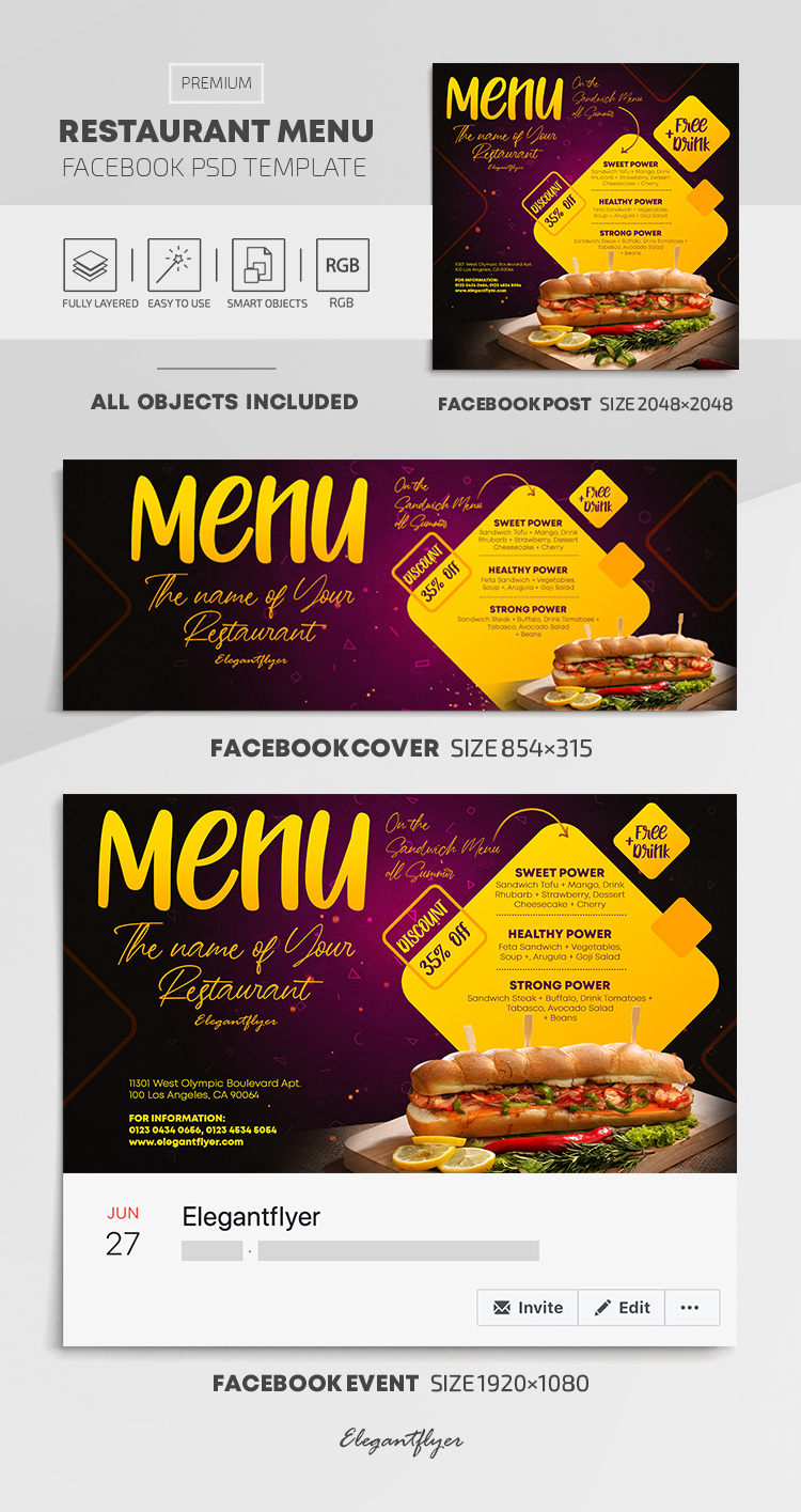 Restaurant Menu – Facebook Cover Template in PSD + Post + Event cover