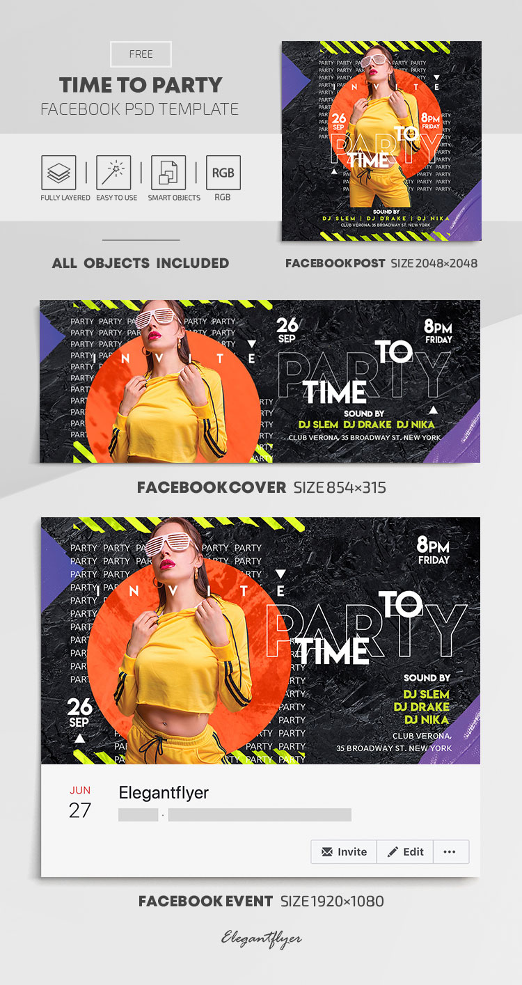 Time to Party – Free Facebook Cover Template in PSD + Post + Event cover