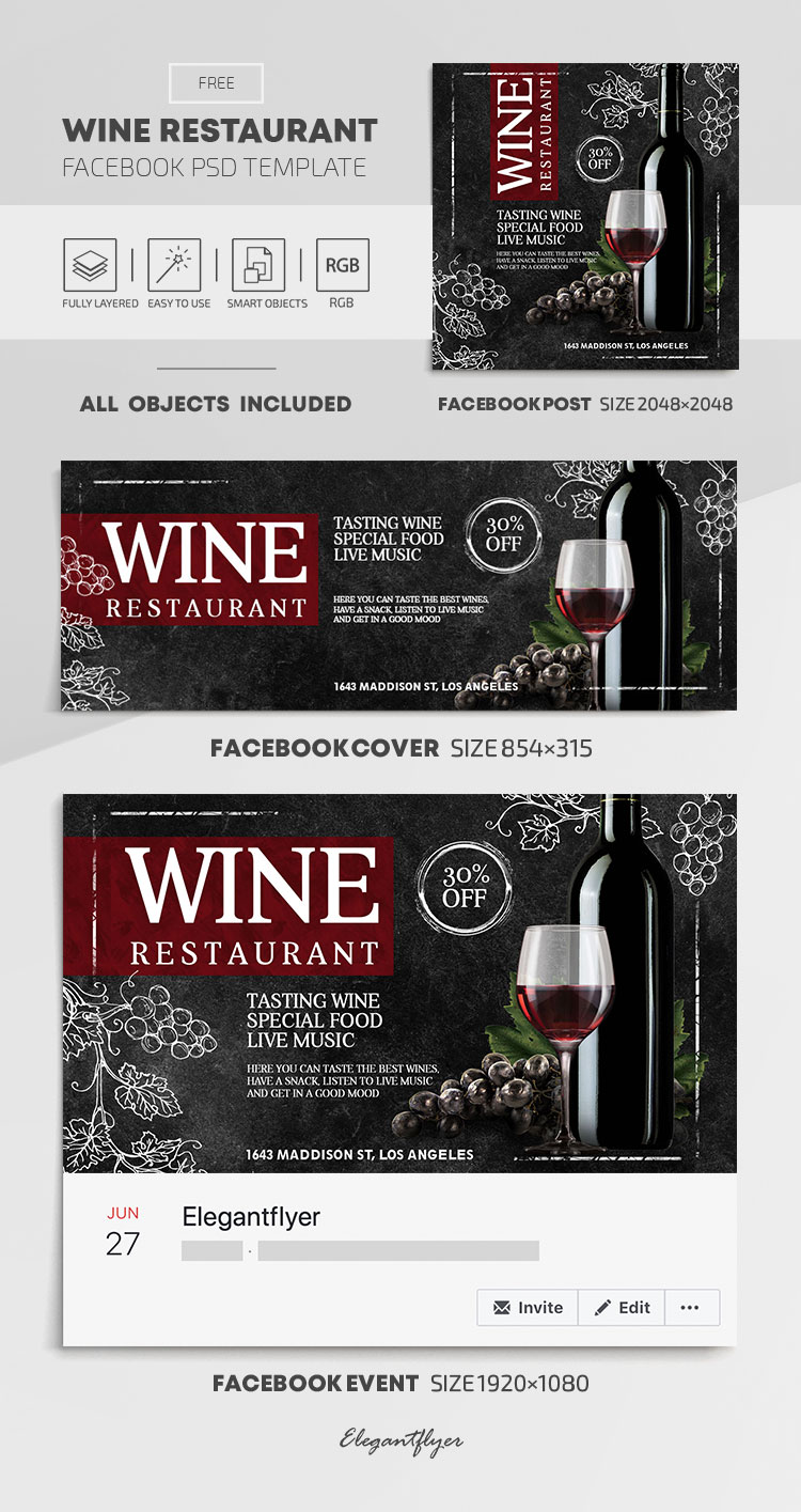 Wine Restaurant – Free Facebook Cover Template in PSD + Post + Event cover