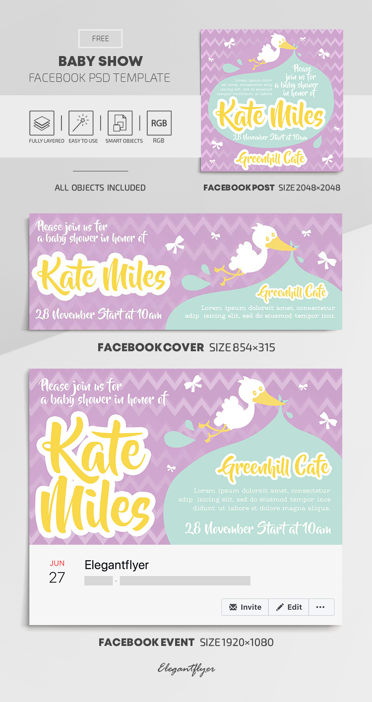 Baby Show – Free Facebook Cover Template in PSD + Post + Event cover