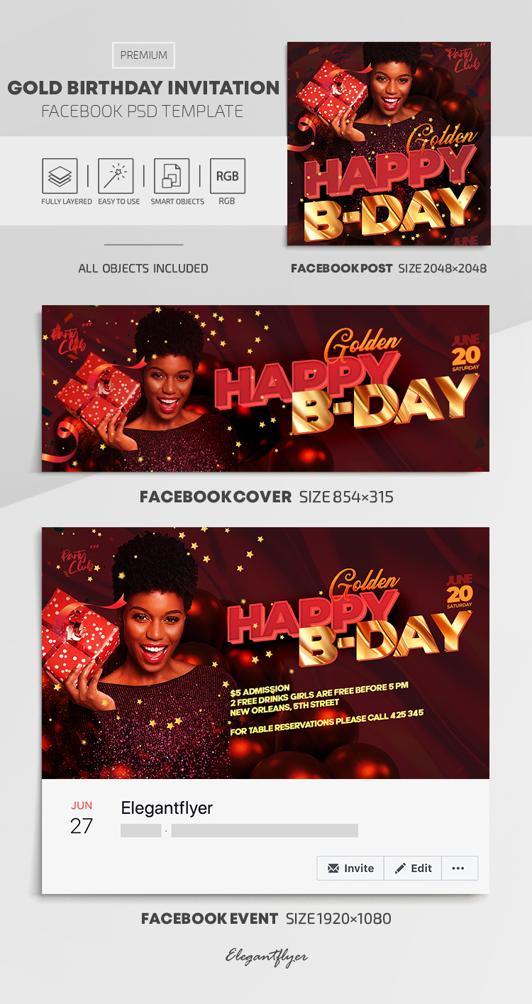 Gold Birthday Invitation – Facebook Cover Template in PSD + Post + Event cover