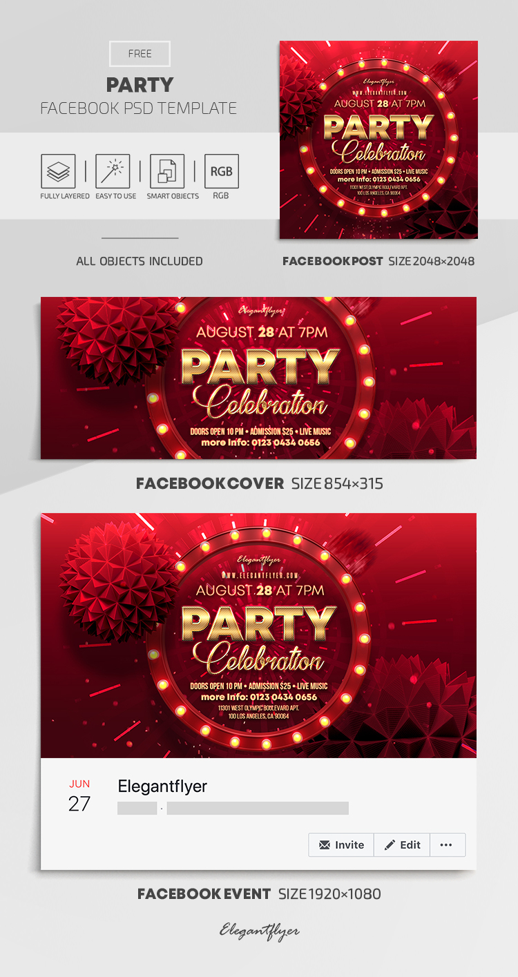 Party – Free Facebook Cover Template in PSD + Post + Event cover