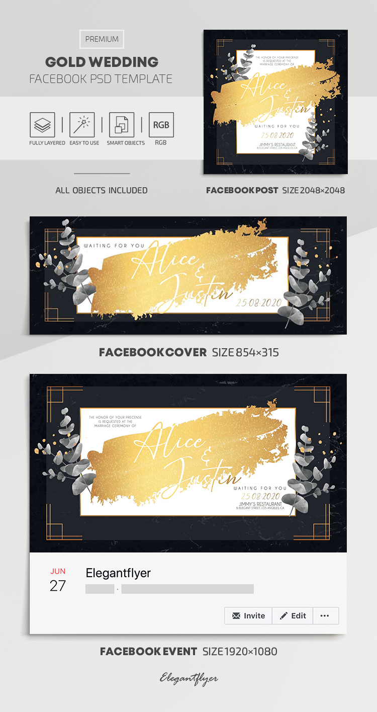 Gold Wedding – Facebook Cover Template in PSD + Post + Event cover