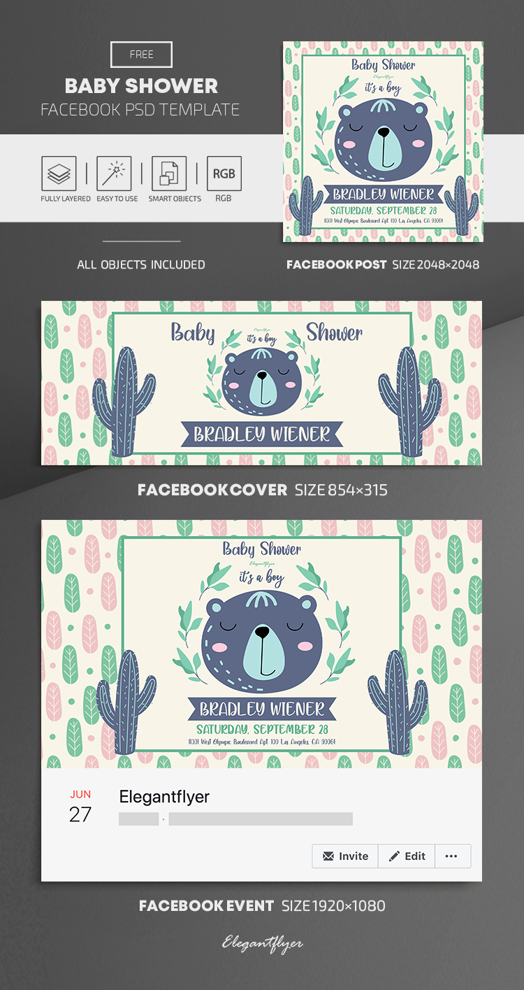 Baby Shower – Free Facebook Cover Template in PSD + Post + Event cover