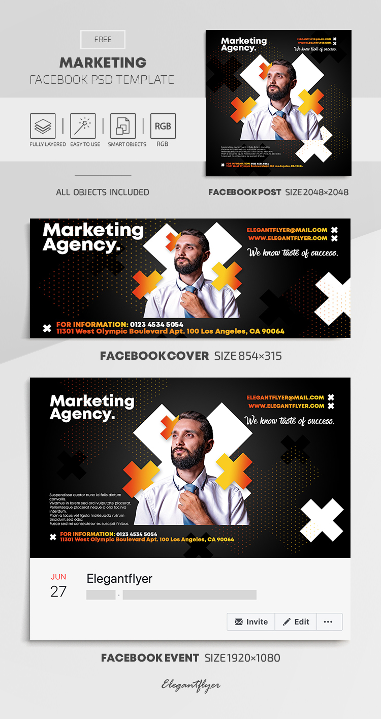 Marketing – Free Facebook Cover Template in PSD + Post + Event cover