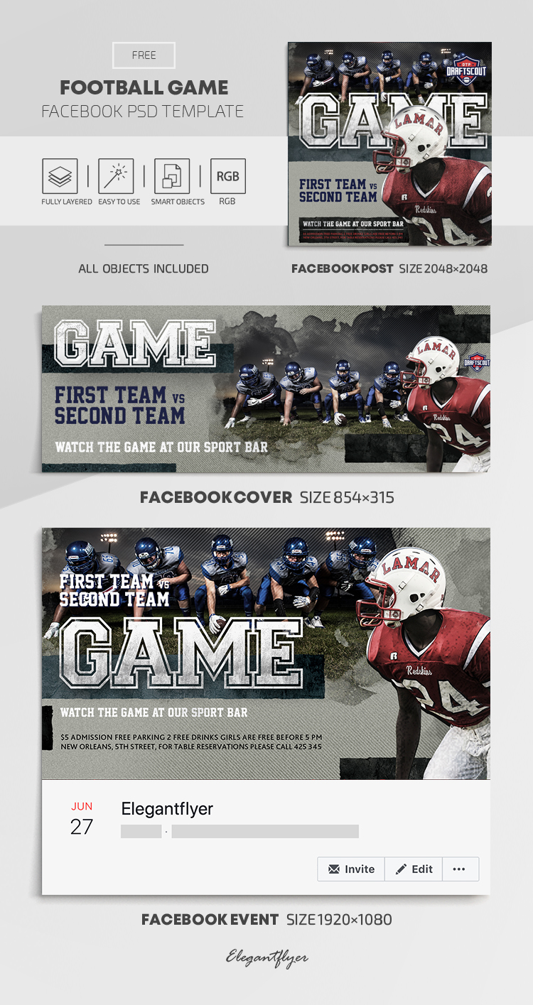 Football Game – Free Facebook Cover Template in PSD + Post + Event cover