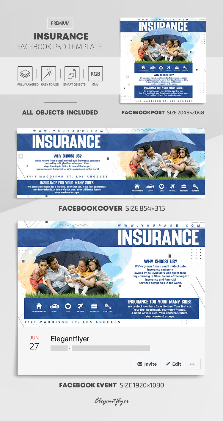 Insurance – Facebook Cover Template in PSD + Post + Event cover