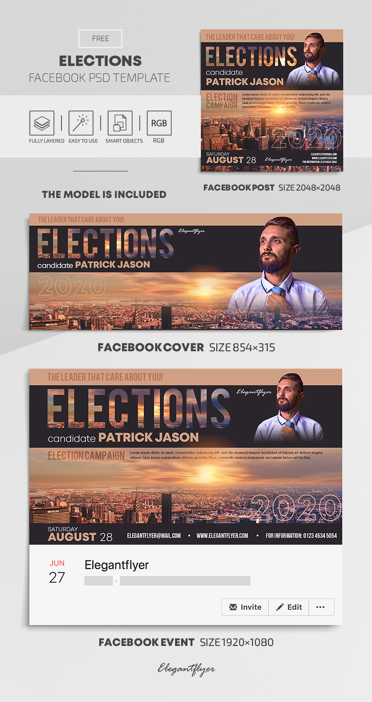 Elections – Free Facebook Cover Template in PSD + Post + Event cover