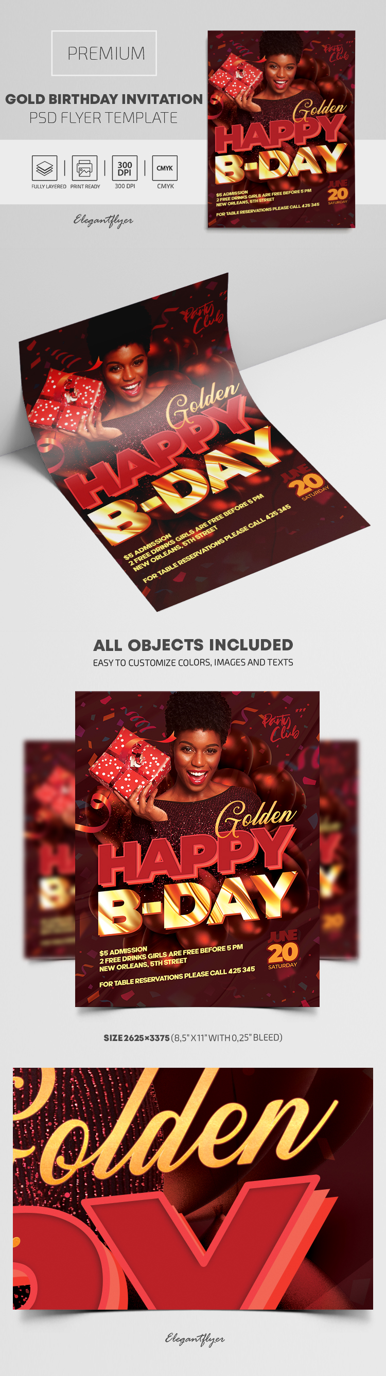 Gold Birthday Invitation PSD Template