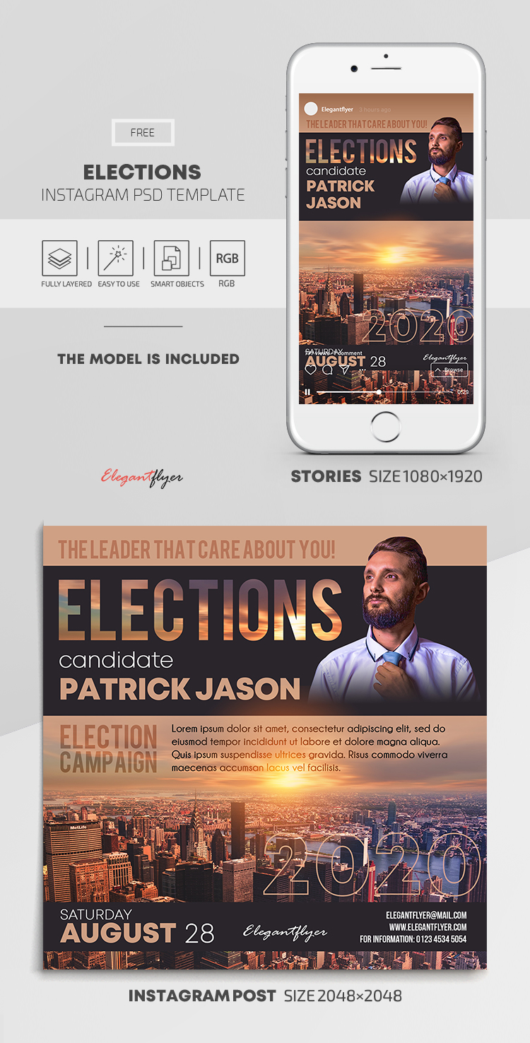 Elections – Free Instagram Stories Template in PSD + Post Templates