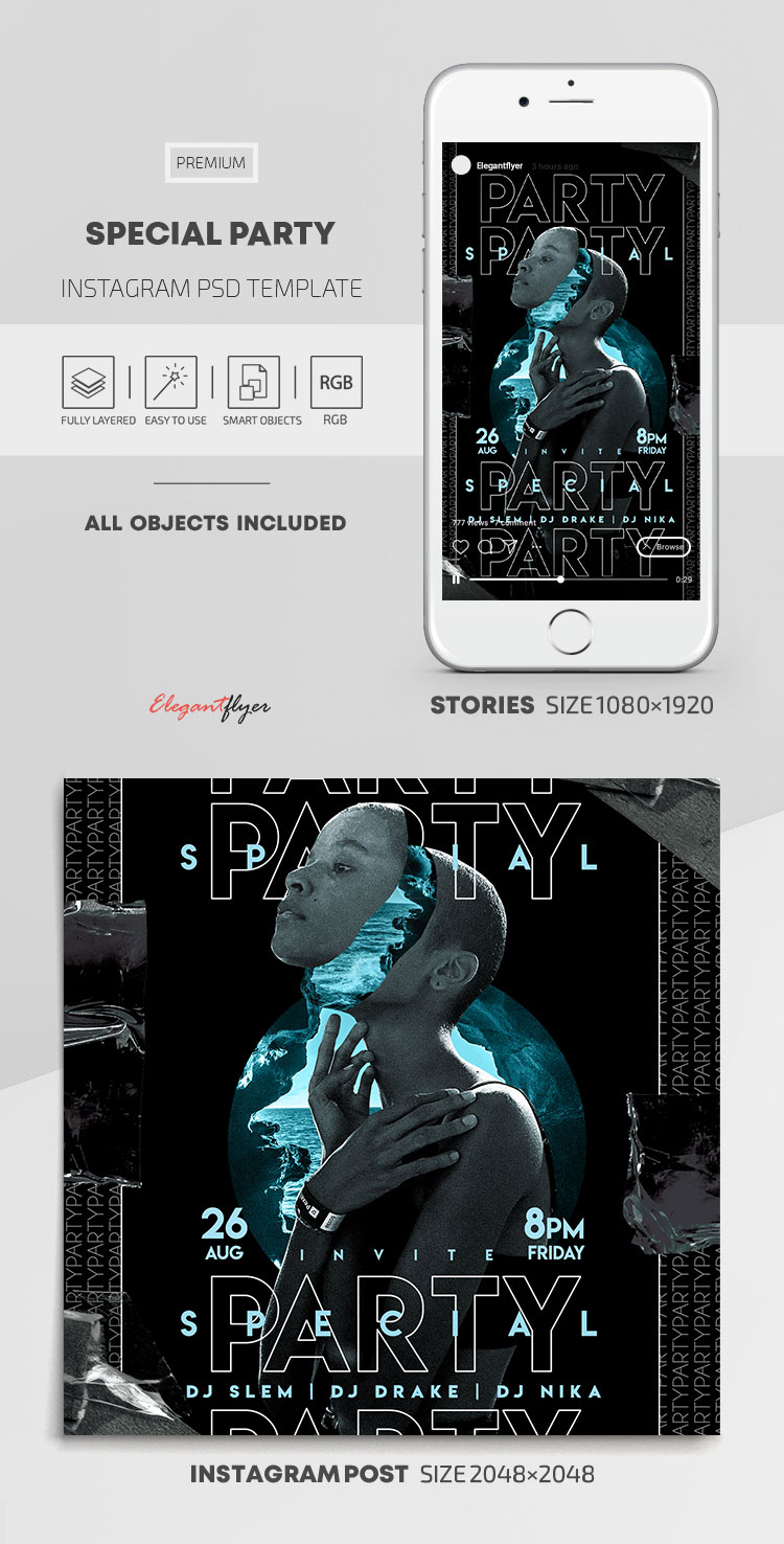 Special Party – Instagram Stories Template in PSD + Post Templates