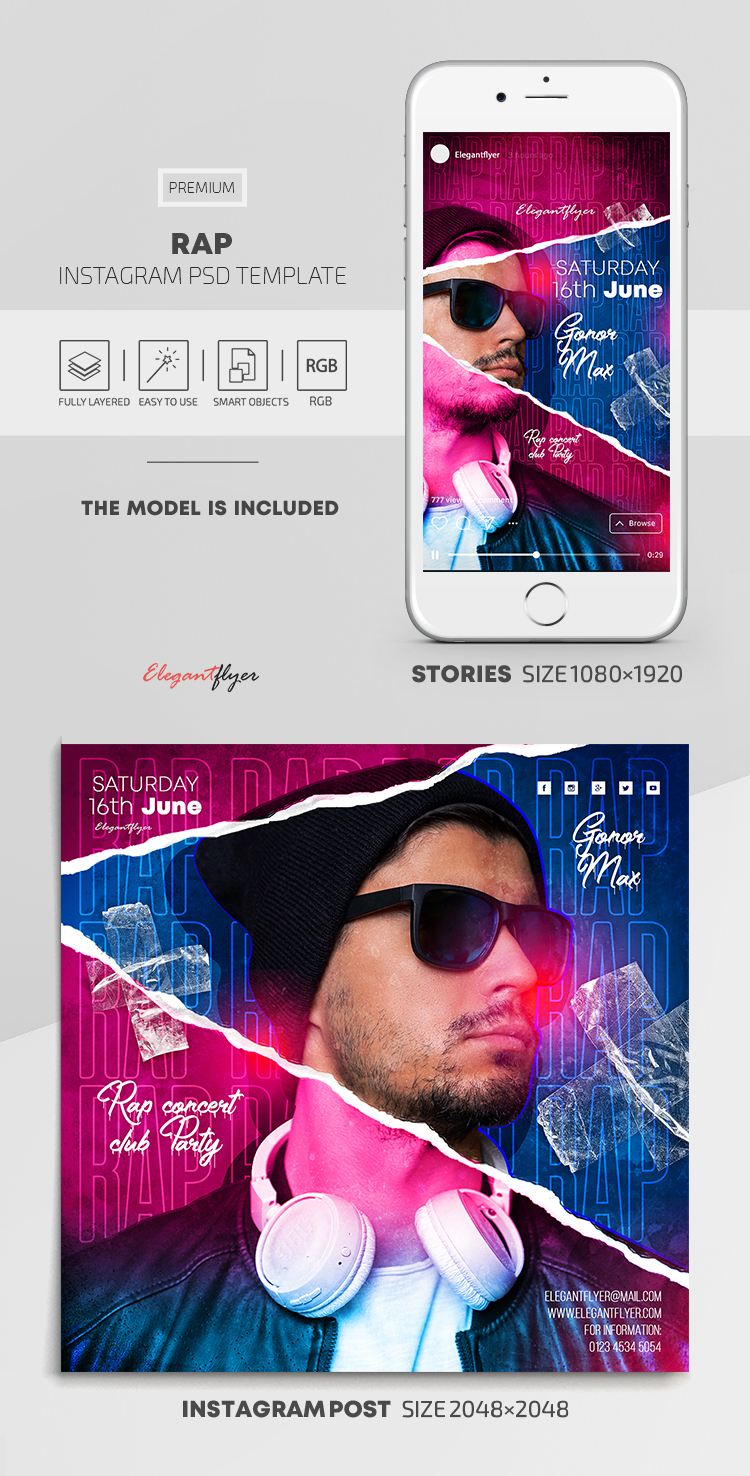 Rap – Instagram Stories Template in PSD + Post Templates