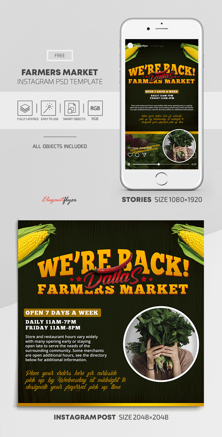 Farmers Market – Free Instagram Stories Template in PSD + Post Templates