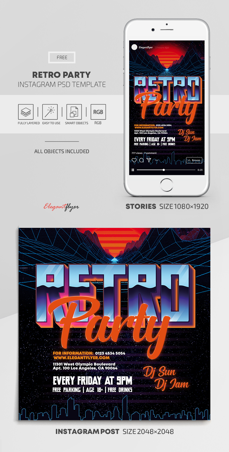 Retro Party – Free Instagram Stories Template in PSD + Post Templates