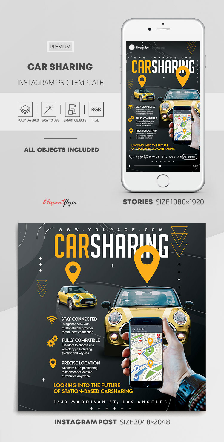 Car Sharing – Instagram Stories Template in PSD + Post Templates