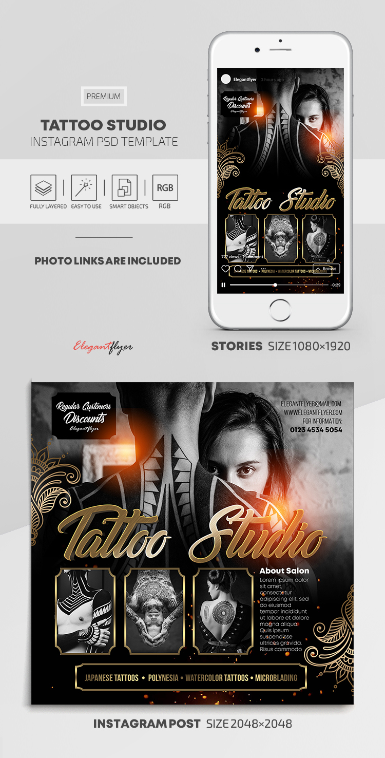 Tattoo Studio – Instagram Stories Template in PSD + Post Templates
