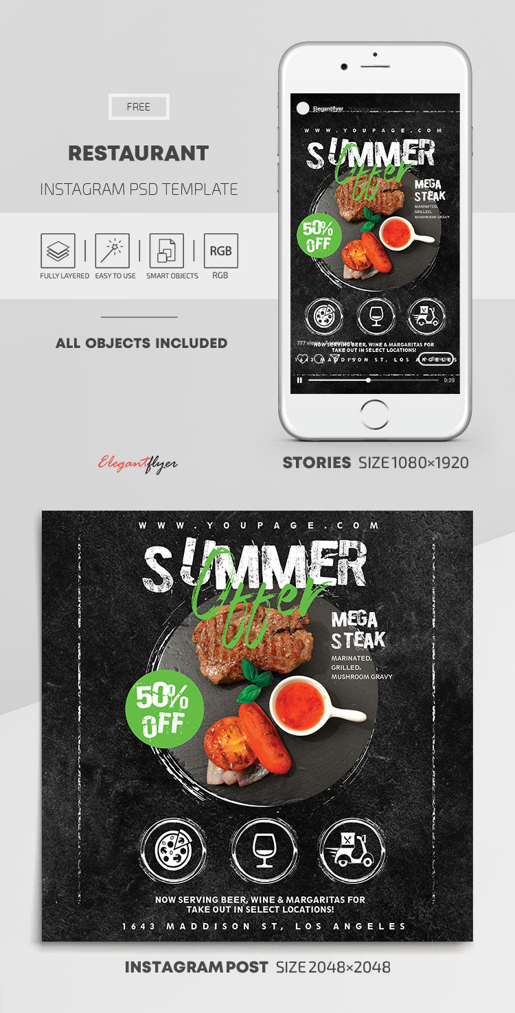 Restaurant – Free Instagram Stories Template in PSD + Post Templates