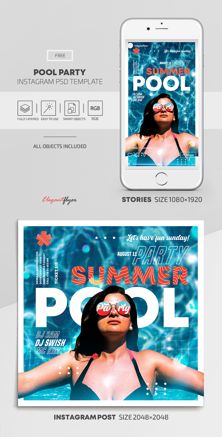 Pool Party – Free Instagram Stories Template in PSD + Post Templates