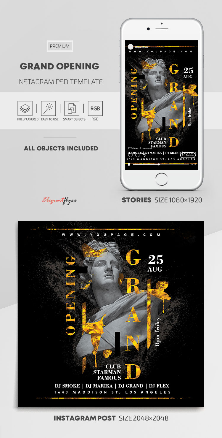 Grand Opening – Instagram Stories Template in PSD + Post Templates