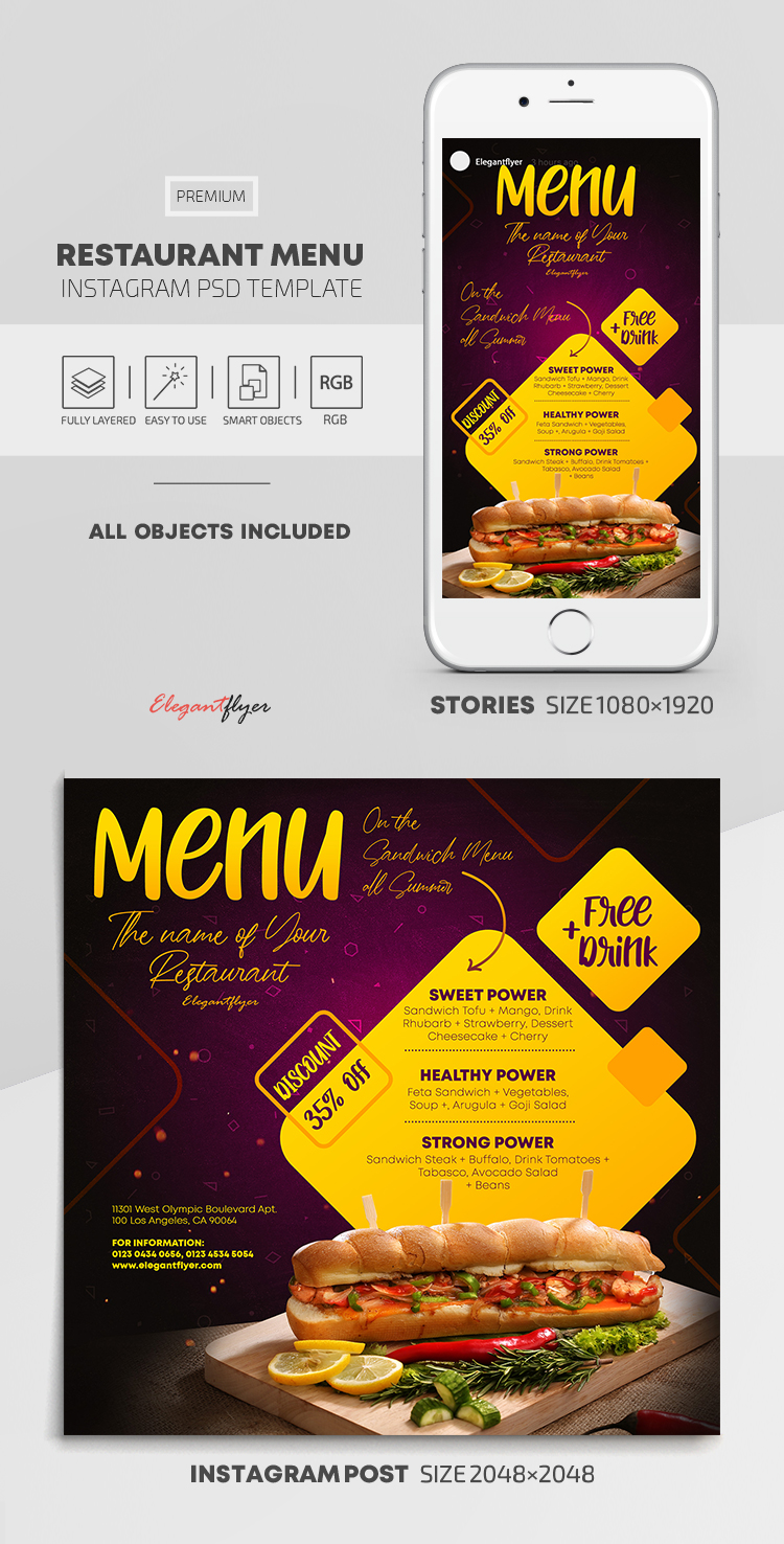 Restaurant Menu – Instagram Stories Template in PSD + Post Templates