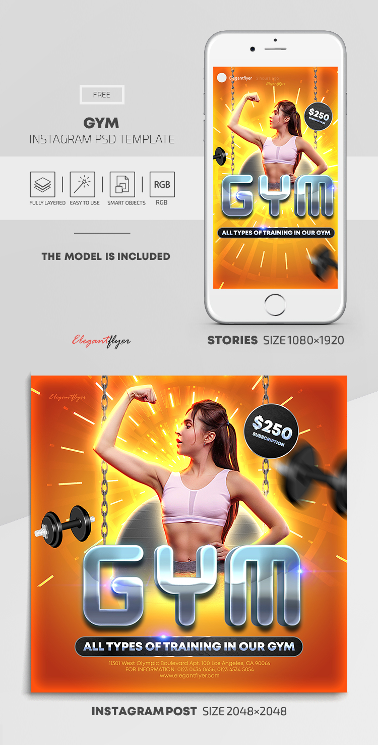 GYM – Free Instagram Stories Template in PSD + Post Templates