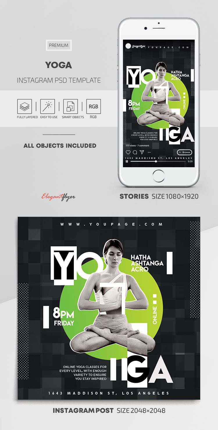 Yoga – Instagram Stories Template in PSD + Post Templates