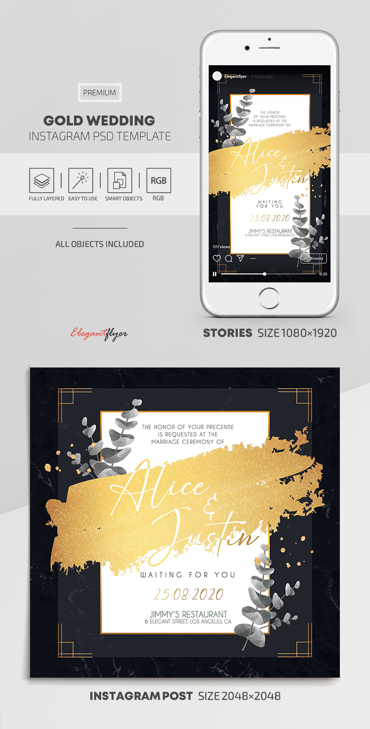 Gold Wedding – Instagram Stories Template in PSD + Post Templates
