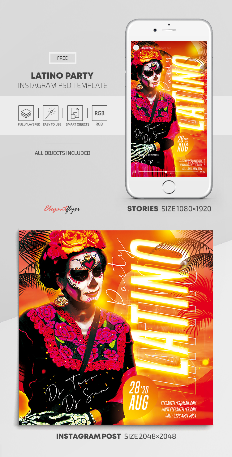 Latino Party – Free Instagram Stories Template in PSD + Post Templates