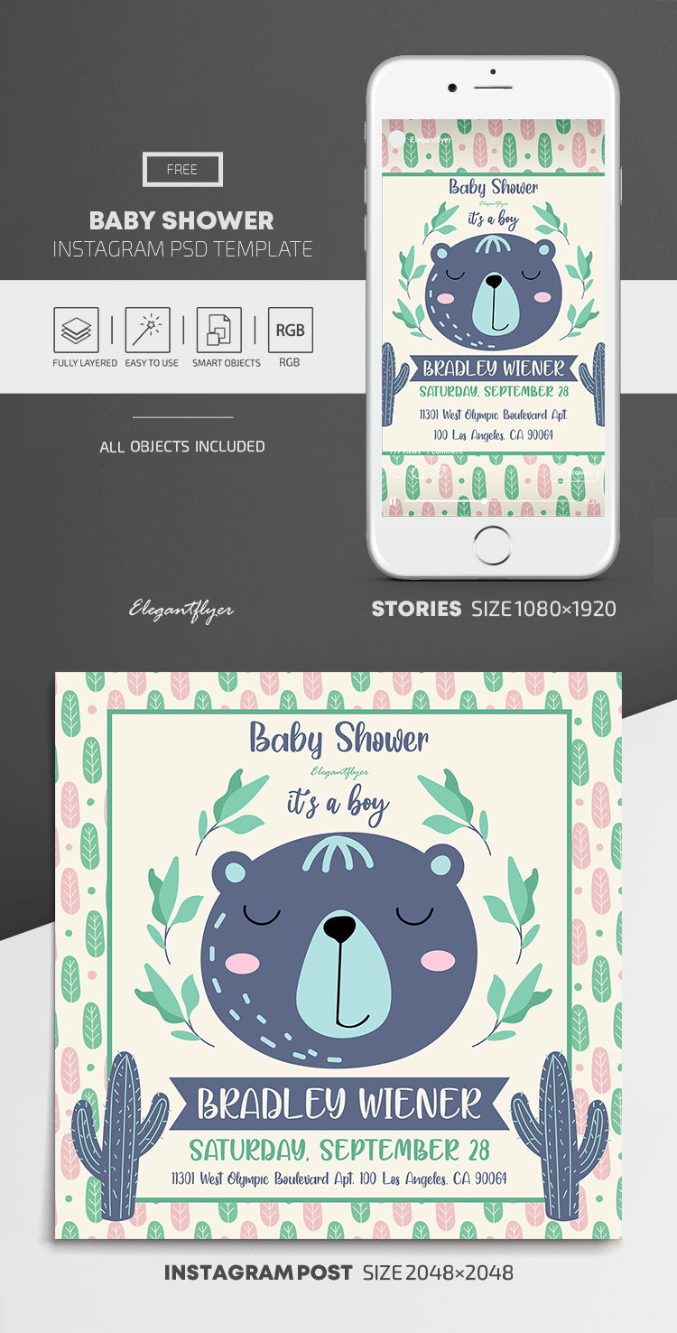 Baby Shower – Free Instagram Stories Template in PSD + Post Templates