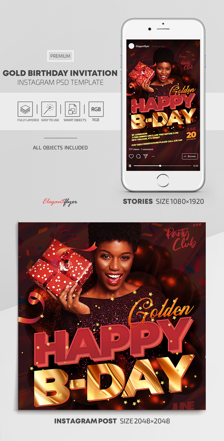 Gold Birthday Invitation – Instagram Stories Template in PSD + Post Templates