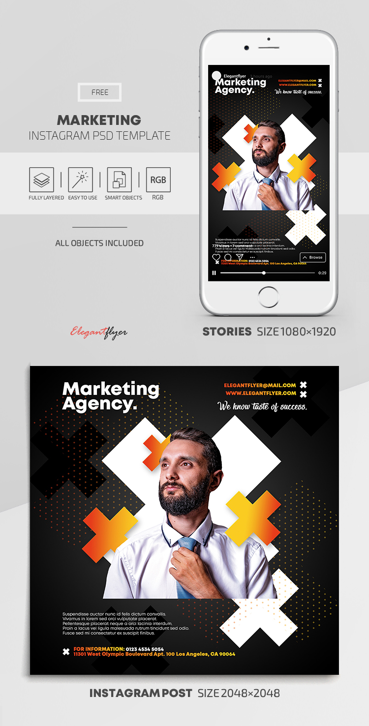 Marketing – Free Instagram Stories Template in PSD + Post Templates