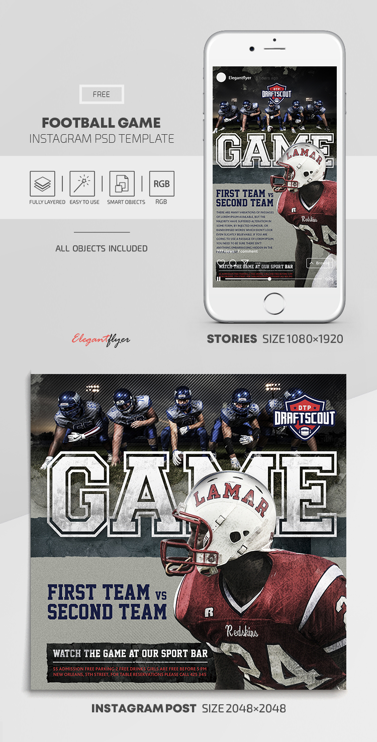 Football Game – Free Instagram Stories Template in PSD + Post Templates