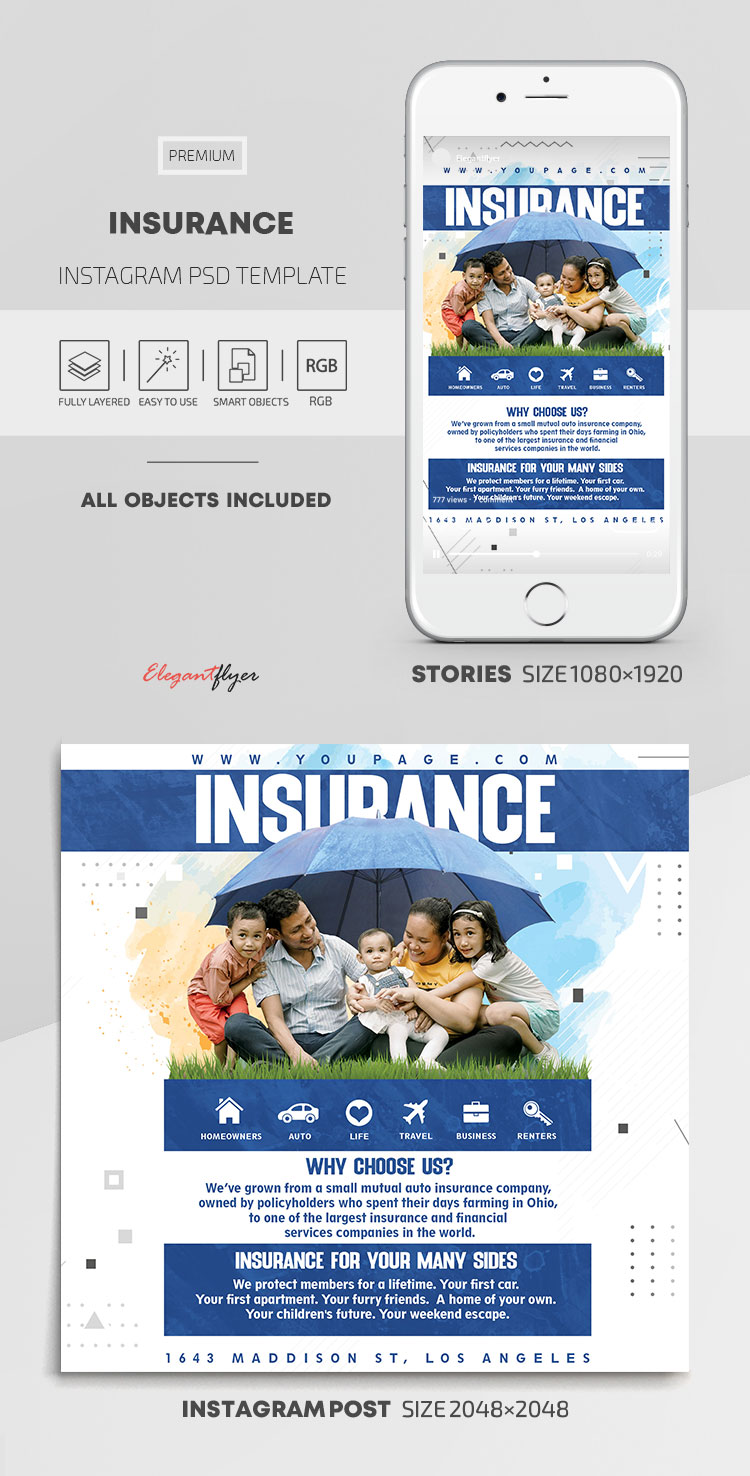 Insurance – Instagram Stories Template in PSD + Post Templates