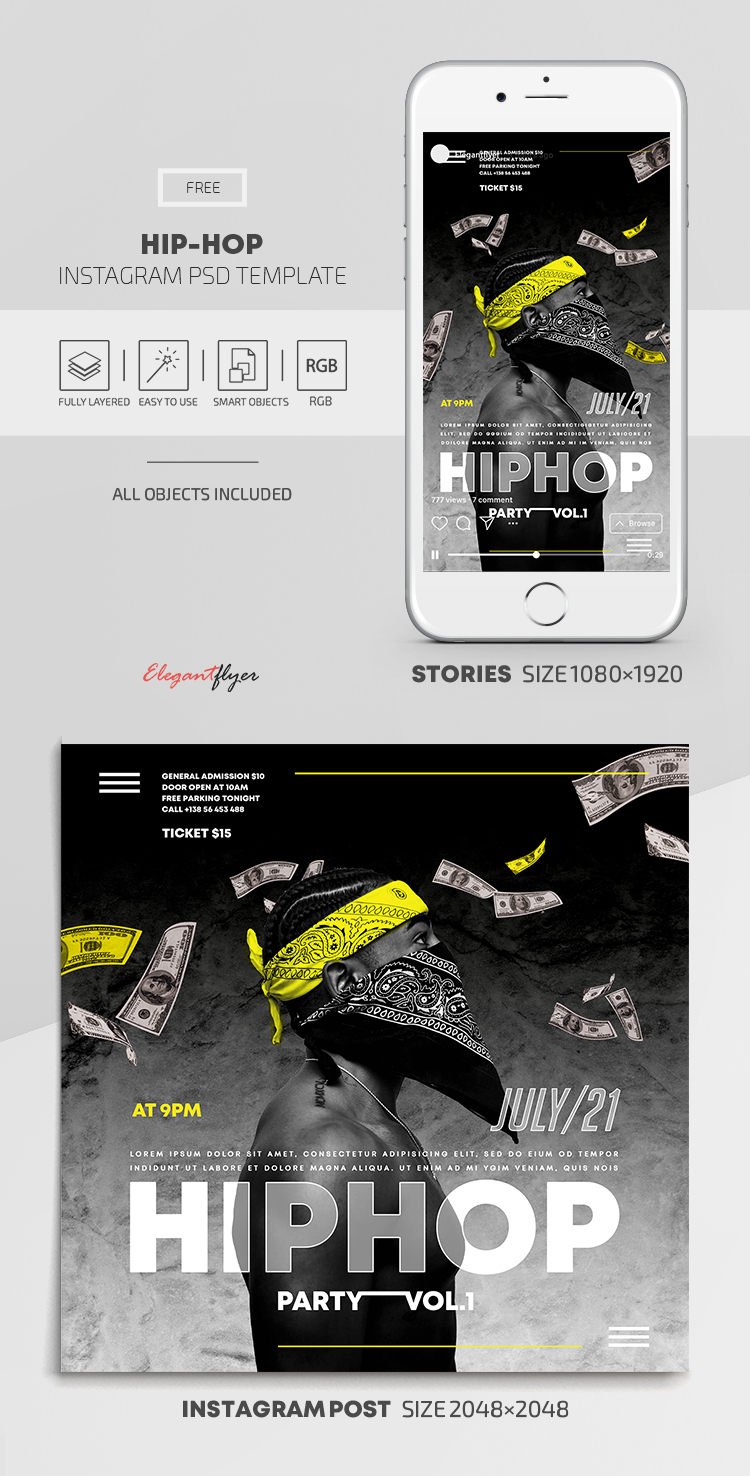 Hip Hop – Free Instagram Stories Template in PSD + Post Templates